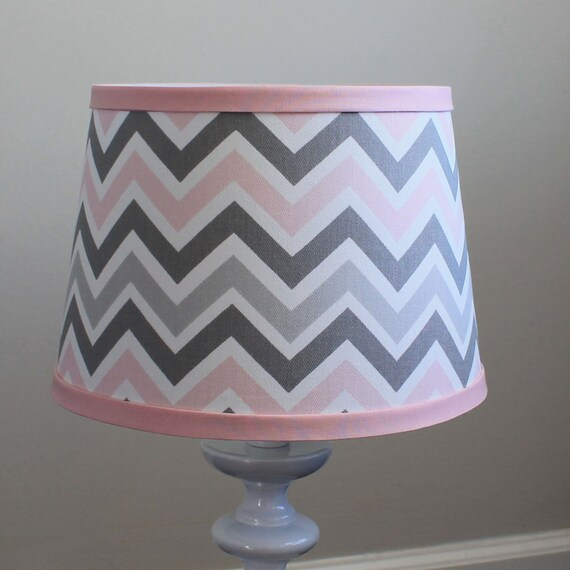 Small Pink Gray Chevron lamp shade.