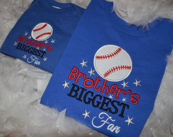Brother's Biggest Fan baseball applique t-shirt