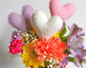 Plush Heart Lollipops - Fake Food Cake Toppers - Floral Bouquet Embellishment - Wool Play Food