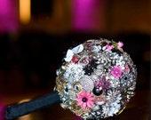 Brooch Bouquet - Custom Jewelry Heirloom Bouquet - Large - Rhinestones, Crystals, Enamel Flowers - Handmade in the USA