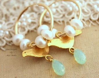Birds on a wire - Gold hoops Mint swarovski Crystal and white pearls Dove earrings,christmas gift,gift for her,pearl earrings.