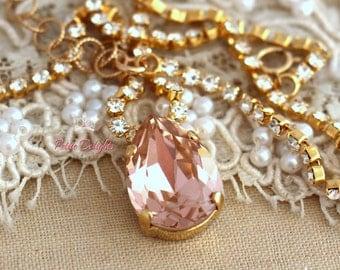 Blush pink Crystal Necklace, Bridal Blush pink necklace, Swarovski Crystal Necklace, Bridesmaids jewelry, Pink Blush Jewel Gold Or Silver