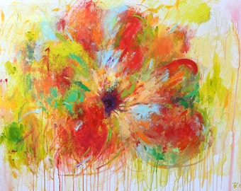 ORIGINAL abstract painting ORIGINAL painting abstract flower painting-Modern Contemporary Abstract art colorful
