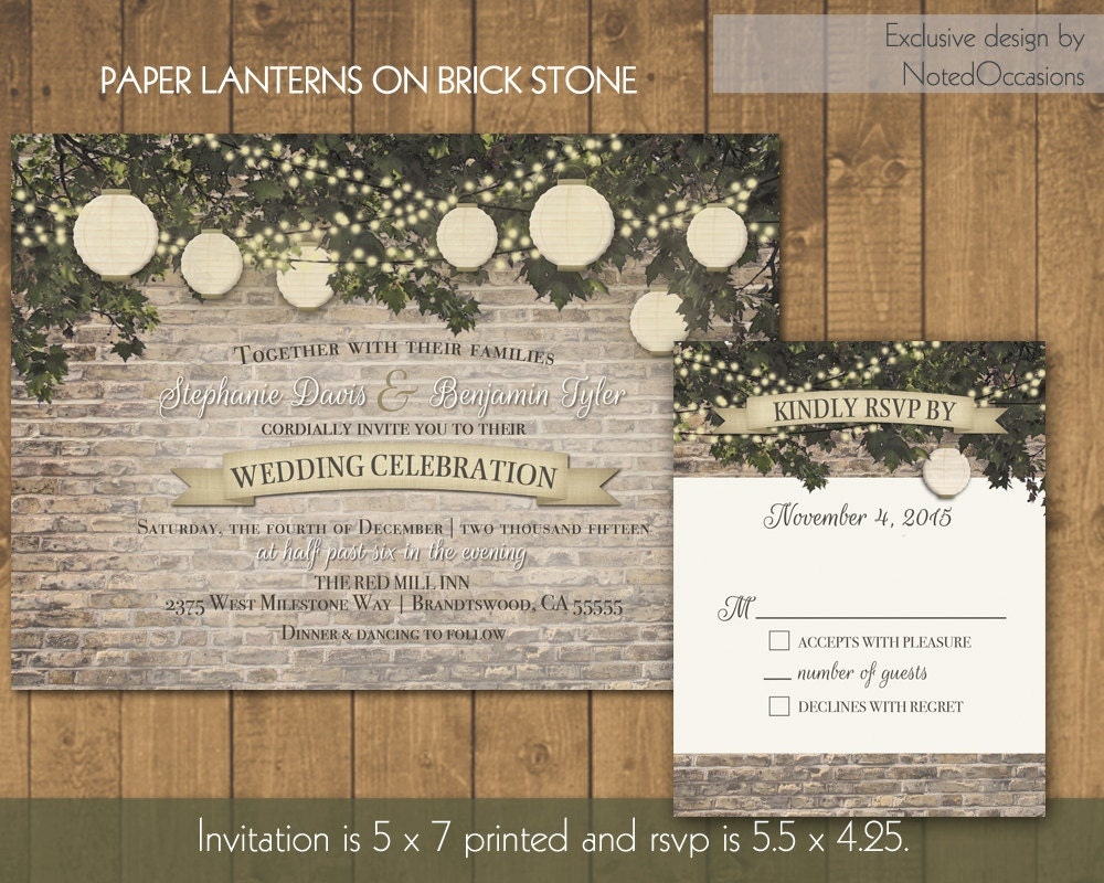 Paper For Wedding Invitation: Paper Lanterns Wedding Invitations Rustic By NotedOccasions