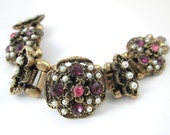 VICTORIAN revival PURPLE rose rhinestones pearls BOOK link chain bracelet