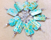 SNAG FREE Wire Loop Knitting Markers- Turquoise Beaded Stitch Markers- Gifts for Knitters- Stitch Holders- Knitting Tools & Accessories