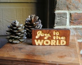 Joy to the World Carved Wooden Sign - Reclaimed Wood