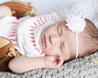 Girls White Headband, Baby Headband, Newborn Headband, White Flower Headband, Shabby Chic Flower Headband, Photography Prop