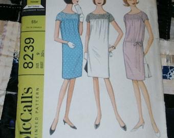 """1966 Vintage McCall's Pattern 8239 Junior Dress, Size 9, Bust 30 1/2"""", Uncut"""