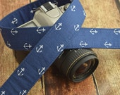 Navy Blue Anchor Camera Strap - fits Canon dSLR, Nikon dSLR etc - Nautical Camera Strap - Summer Camera Strap
