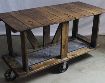 Vintage Industrial Style Factory Machine Age Media,Console Table Cart
