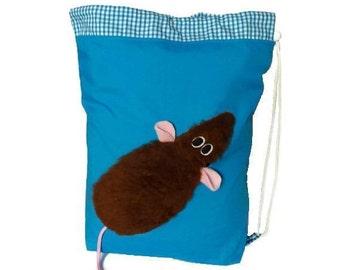 Rat school sports gym kit PE drawstring bag turquoise furry