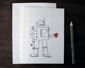 Valentine love note card - blank - robot binary i love you