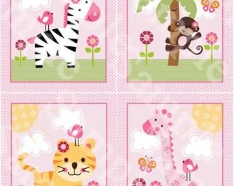 "Set of 4 Unframed ""Sunny Safari/Girl Animals/Zebra/Monkey/Giraffe/Tiger"" 8x10 inch Linen Look Nursery Wall Art Prints Baby Children Kids"