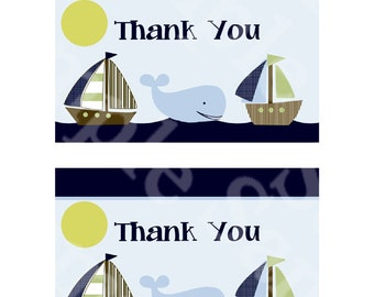 Ahoy Mate/Sailboat Digital Baby Shower Thank You Card  Flat and Folded 4x6 inch