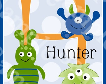 Personalized Cute Baby Monsters 8x10 Kids Nursery Art Print