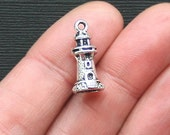 BULK 30 Lighthouse Charms Antique  Silver Tone in 3D Fantastic Details - SC2782
