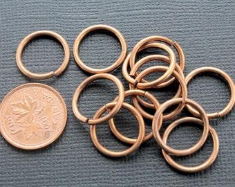 "100 Jump Rings 7/16"" - 11mm ID Bronze / Copper 16 gauge Top Quality - J59"