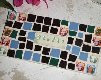 Mosaic Sign - Studio sign - ARt STudio sign -  Mosaic sign - Andy Warhol - Marilyn Monroe - Retro signs
