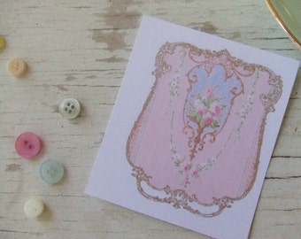 Pink notecards - notecards - shabby cottage chic notecards - golden border with roses - pink rose notecards -pretty notecards