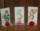 3 Old German Stand up Mini Valentines with Honeycomb