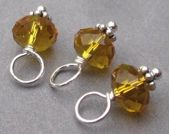 Birthstone Charms, Topaz Faceted Crystal Beads,  Wire Wrapped Bead Dangles, Stitch Markers, Bracelet Charms, November Birthstone