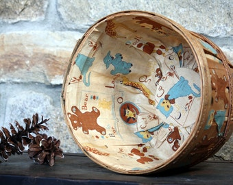 SALE Vintage Lined / Decorated Wooden Bushel Basket - Nursery Decor