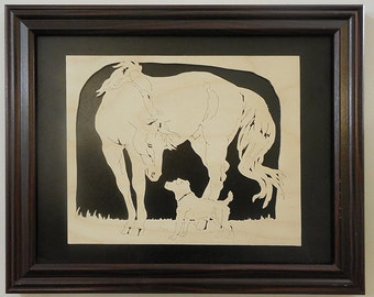 Jack Russell Terrier and Horse Wood Portrait: Making Friends