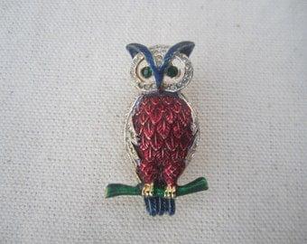 Vintage rhinestone colorful owl pin brooch