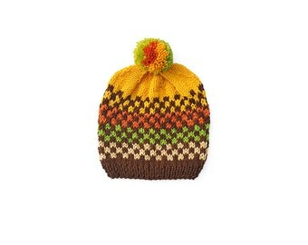 Toddler Baby Boy / Girl Hand Knitted Beanie Hat Yellow Brown Green Orange Beige checkerboard, checkered with Pom pom, 2T-4T OOAK