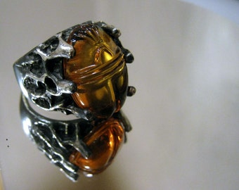 Mummy's Curse Ring Large Genuine Amber Carved Scarab Sterling Silver Handmade Dark Finish Strange size 7 8 9 10 11 12 13 men's fine jewelry