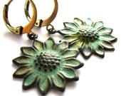 Verdigris Patina Sunflower Earrings Fashion Jewelry
