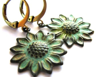 Verdigris Patina Sunflower Earrings Fashion Jewelry