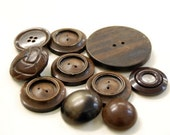Large brown vintage buttons assorted