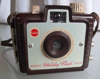 Kodak Brownie Holiday Flash Camera, Brown, Original Strap, Vintage Photography, Home Decor, Prop, Display Piece, Bakelite