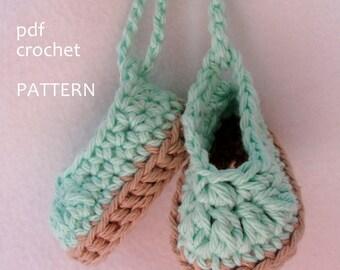 Crochet Pattern Doll Espadrille shoe pattern for Bitty Baby, American Girl or 18 inch doll