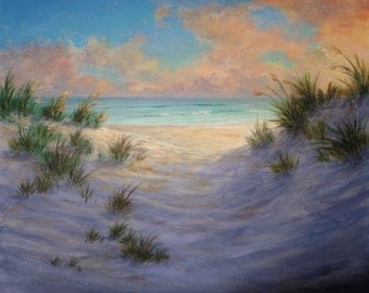 """Original seascape sunset beach painting (Late Day Glow) - 20""""x24"""" acrylic on gallery wrap canvas ready to hang"""