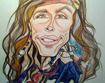 Steven Tyler Rock Caricature Rock Portrait Music Art by Leslie Mehl Art