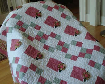 Pink and Green YOYO Quilt