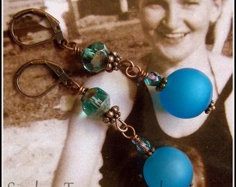 Capri Blue Earrings, Czech Art Glass, Turquoise Blue Art Glass & Crystal Vintage Style, Downton Abbey Earrings in Blue