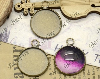 12pcs of Antique Brass round Cabochon Pendant Base Fit 16mm Cabochon,Pendant findings,jewelry findings,blank pendant base,Cabochon Base