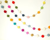 16ft Garland Black String Felted balls by YUMMI felt beads Party Decorations