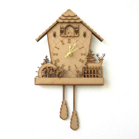 Cuckoo Clock Wood Clock Woodland Clock Unique Wall By