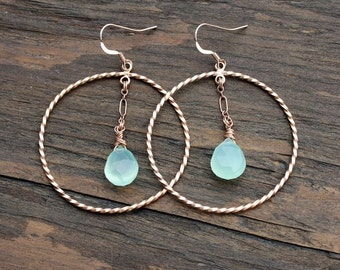 Rose gold earrings, rose gold hoops, chalcedony earrings