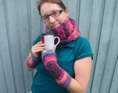3 Piece Gift Set Cowl Fingerless Gloves and Mulberry Cream Soy Woodwick Candle in Mug