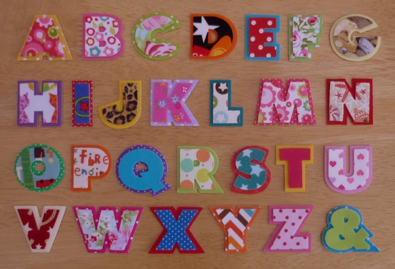 layered iron on fabric letters 2 piece 35cm uppercase appliques made to