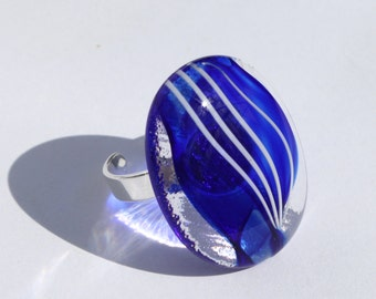 Cobalt Blue Glass and Sterling Silver Ring, White stripes, Fused Glass, Glass Jewelry