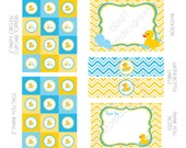 DIY -  Printable: Blue Rubber Ducky Baby Shower - Set of 15 Items - Instant Download