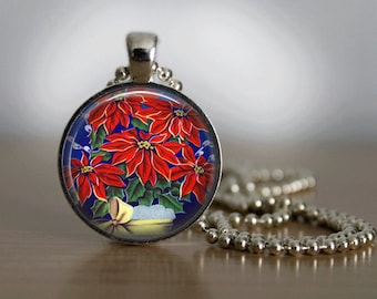 Christmas Necklace Christmas Jewelry Poinsetta Necklace Glass Tile Necklace Glass Tile Jewelry Holiday Necklace Holiday Jewelry