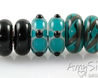 Set of 6 Teal Big Hole Lampwork Glass Beads SRA